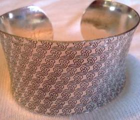 Filigree Tibetan Totem Flared Cuff Bangle Bracelet (V1)