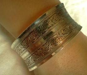 Filigree Tibetan Totem Flared Cuff Bangle Bracelet (V2)